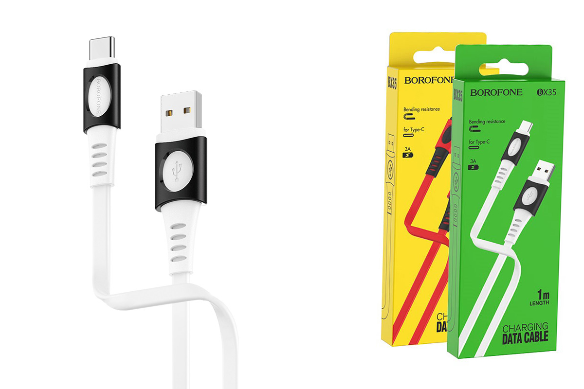 Кабель USB BOROFONE BX35 Carib charging data cable for Type-C (белый) 1 метр