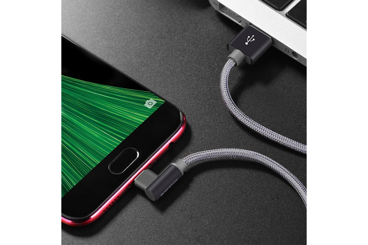 Кабель USB micro USB BOROFONE BX26 Express charging data cable (серый) 1 метр