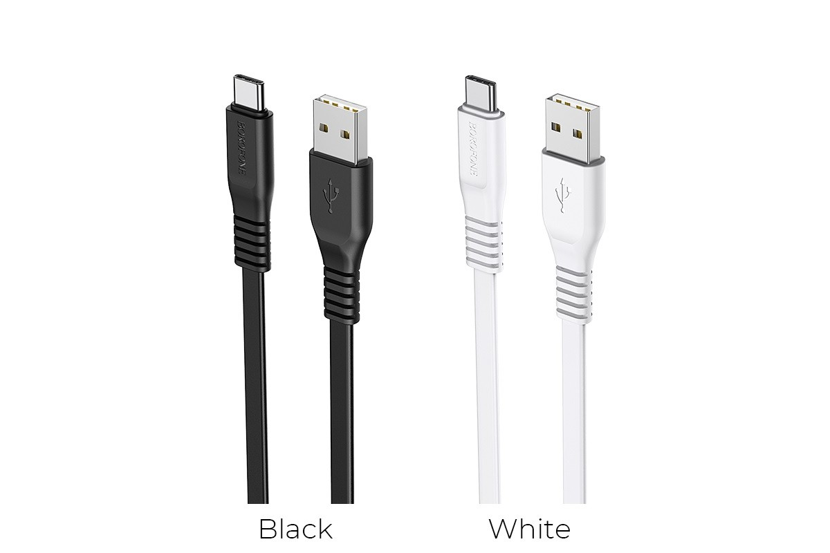 Кабель USB BOROFONE BX23 Wide power charging data cable for Type-C (черный) 1 метр