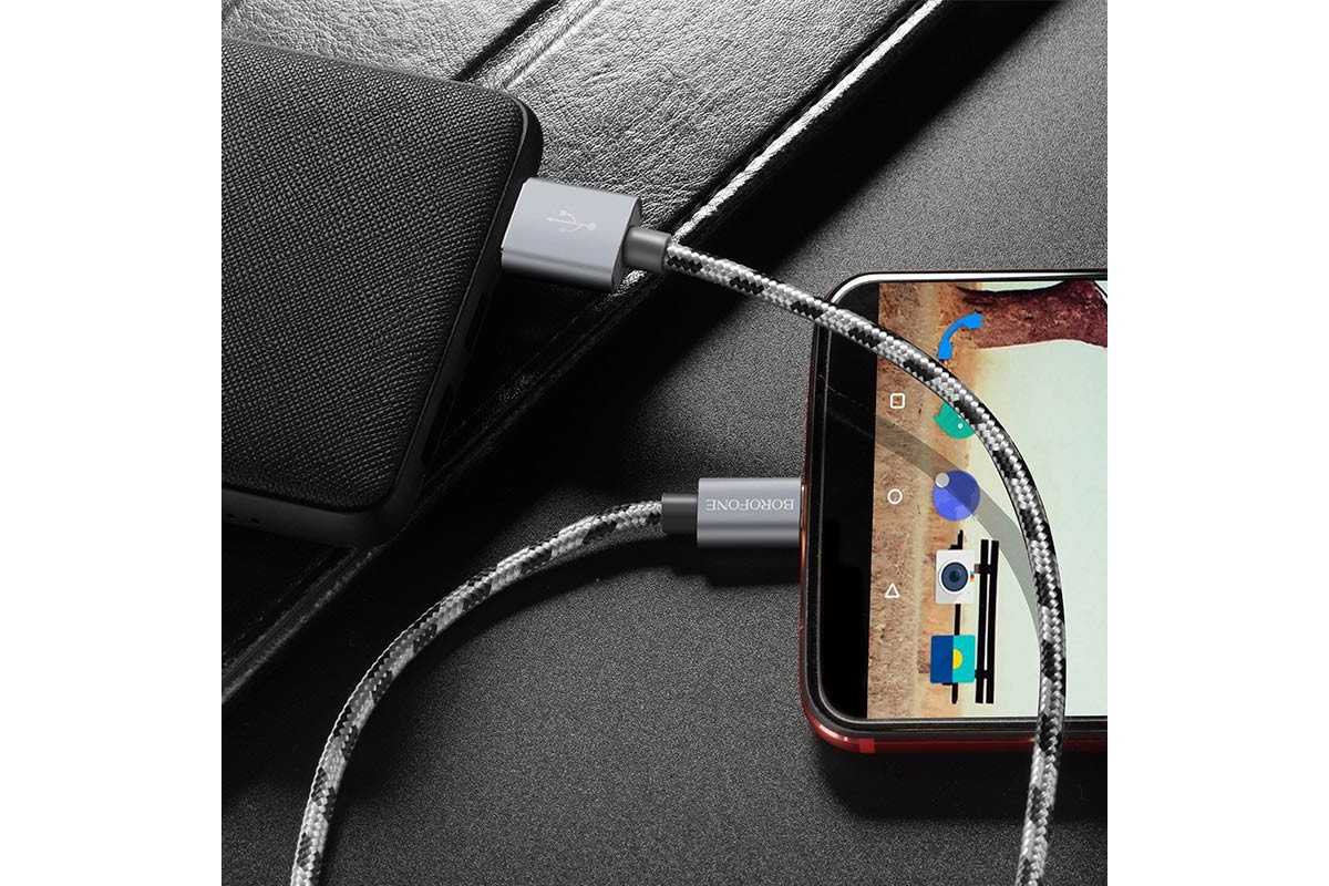 Кабель USB BOROFONE BX24 Ring current charging data cable for Type-C (серый) 1 метр
