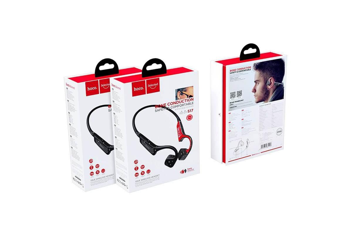 Bluetooth-гарнитура S17 Wise sound bone conduction wireless headset HOCO черная
