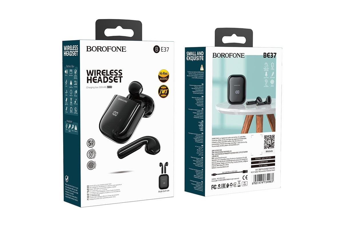 Беспроводные наушники BOROFONE BE37 Sabia TWS wireless headset цвет черная