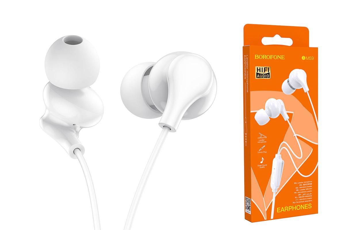 Наушники BOROFONE BM59 Collar universal earphones  with microphone3.5мм цвет белая