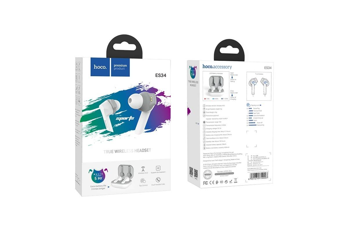 Bluetooth-гарнитура ES34 Pleasure wireless headset HOCO белая