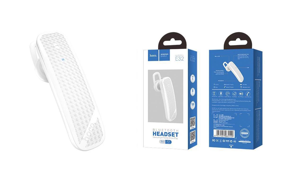 Bluetooth-гарнитура E32 Dazzling sound  HOCO белая