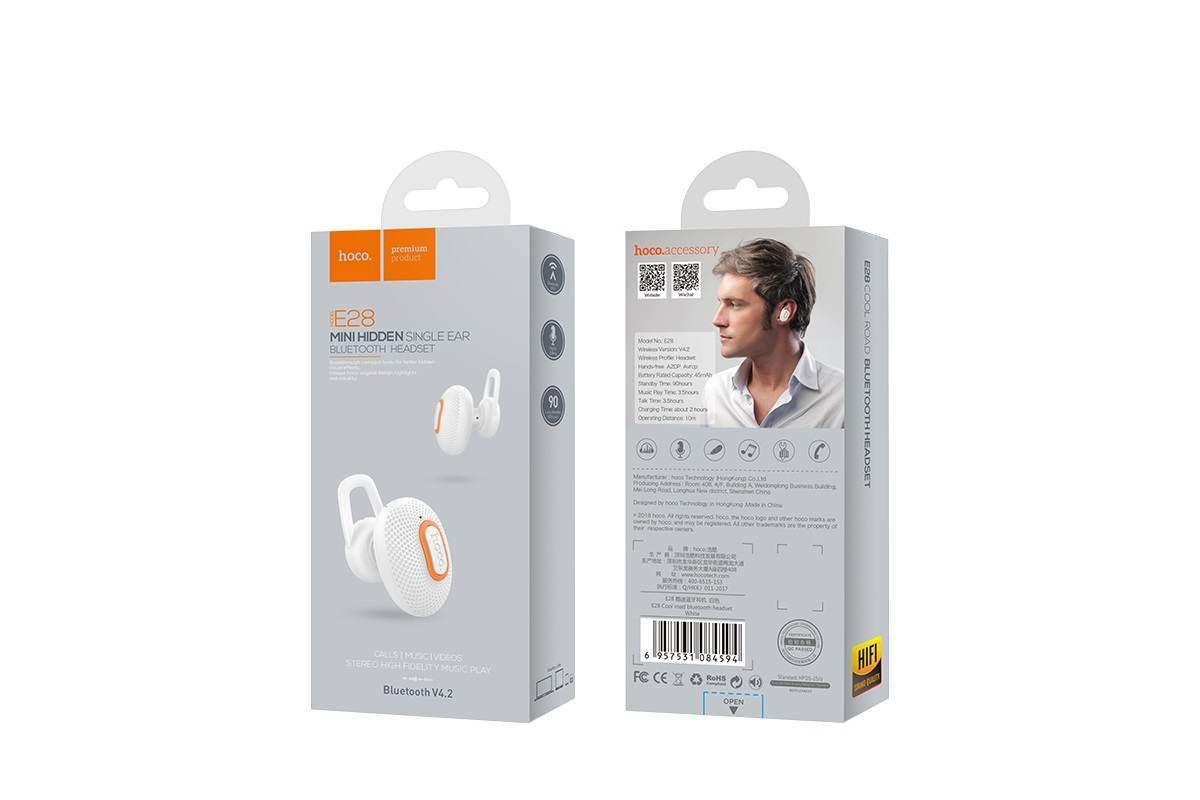 Bluetooth-гарнитура E28 Cool road HOCO белая