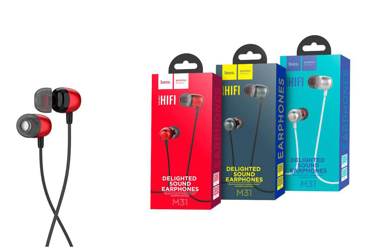 Гарнитура HOCO M31 Delighted sound universal earphones with microphone 3.5мм красный