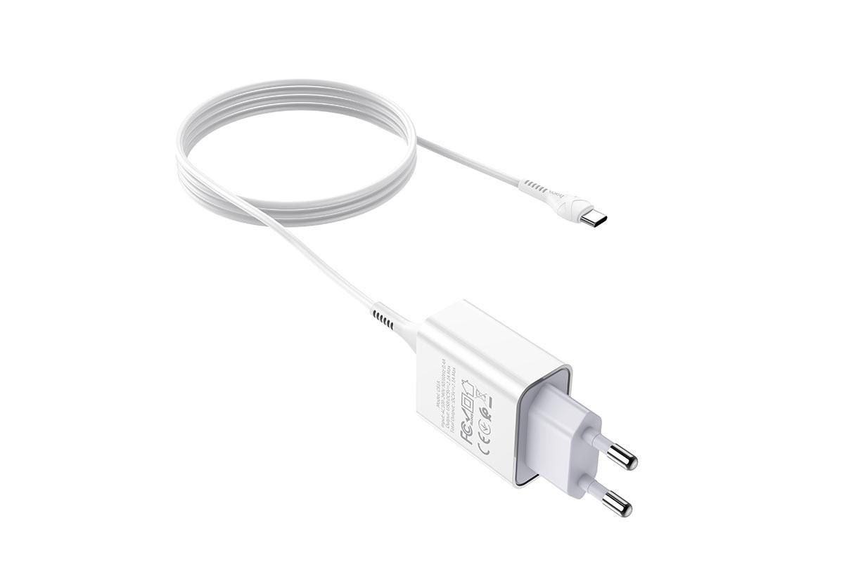 Сетевое зарядное устройство USB + кабель Type-C HOCO C81A Asombrosos single port charger set белый