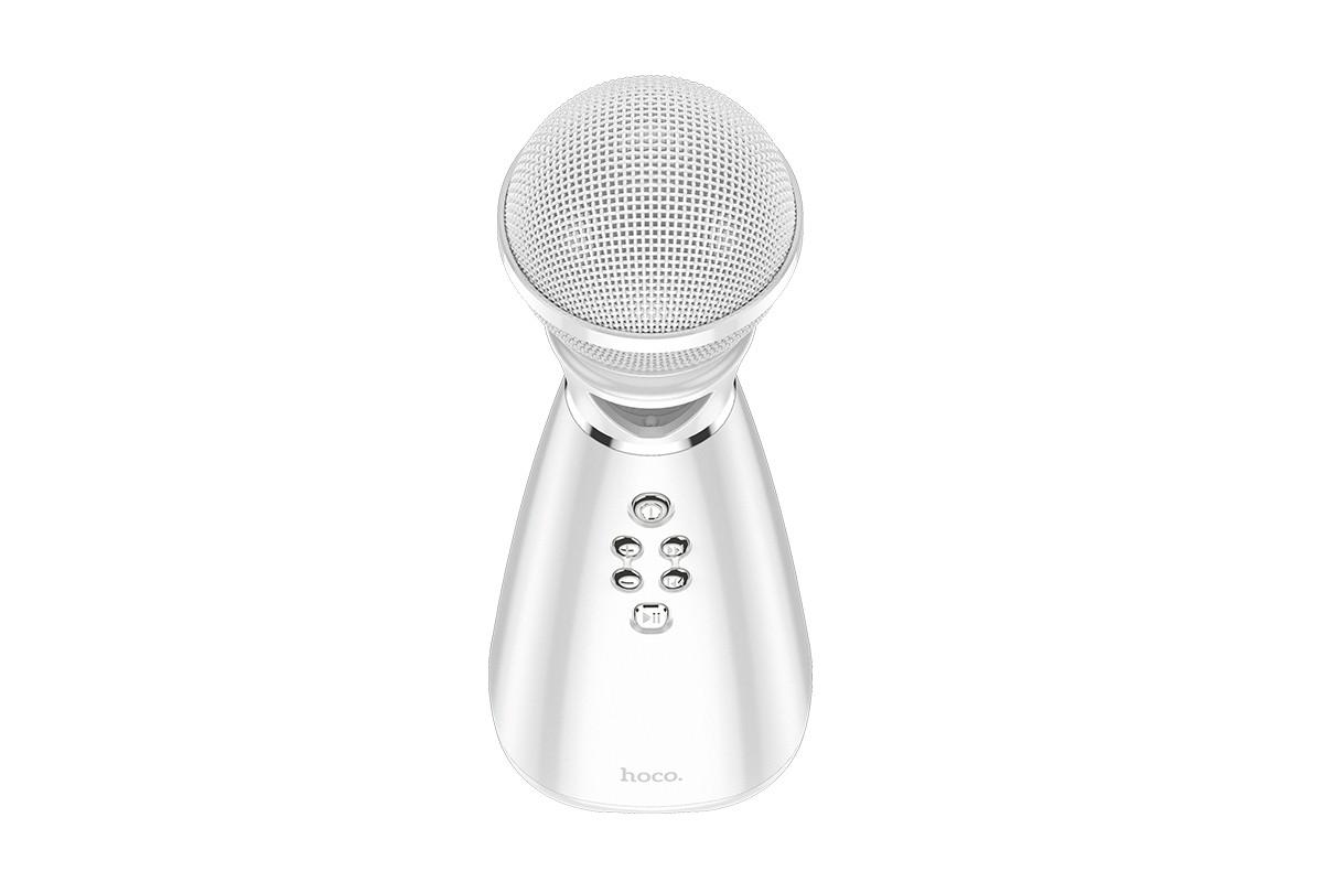 Портативная беспроводная акустика караоке HOCO BK6 Hi-song K song microphone цвет белый