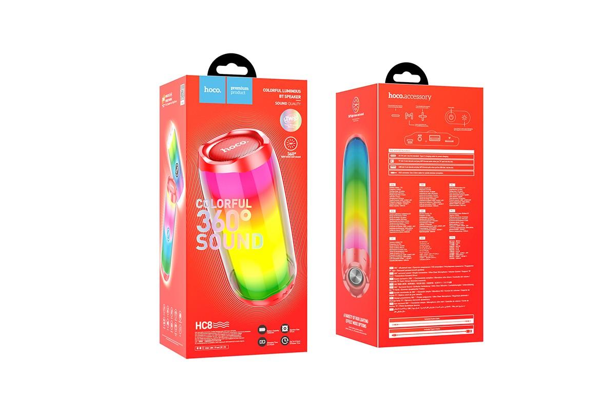 Портативная беспроводная акустика HOCO HC8 Pulsating colorful luminous wireless speaker цвет красный