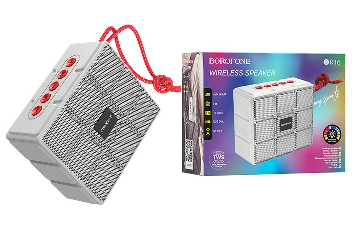 Портативная беспроводная акустика BOROFONE BR16 Gage sports BT speaker  цвет серый