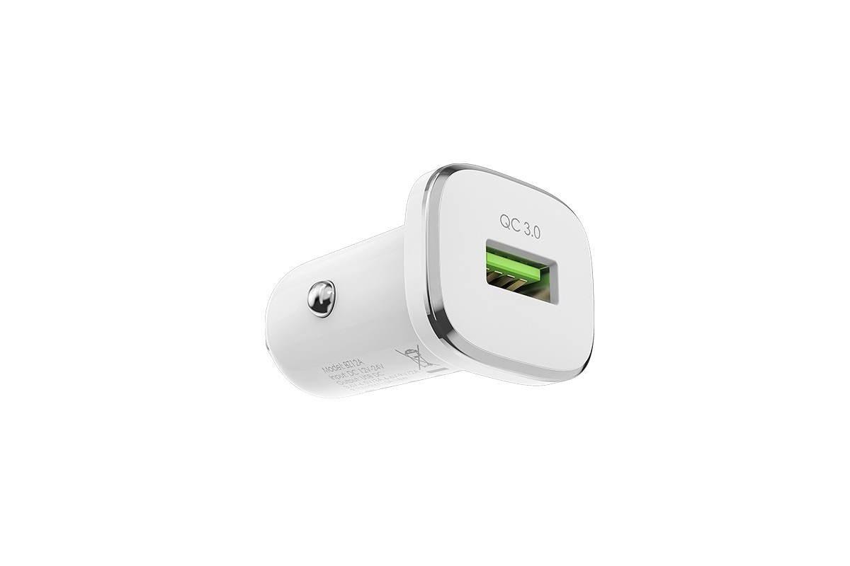 Автомобильное двойное зарядное устройство USB BOROFONE BZ12A Lasting power port QC 3.0 + кабель Type-C  2400 mAh белый