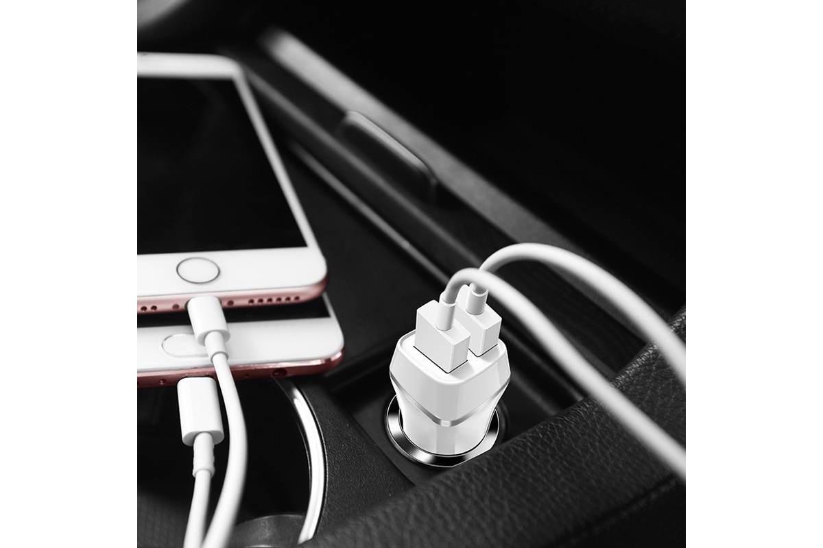 Автомобильное зарядное устройство 2USB 2400 mAh BOROFONE BZ12 Lasting power double port + кабель iPhone Lightning белый