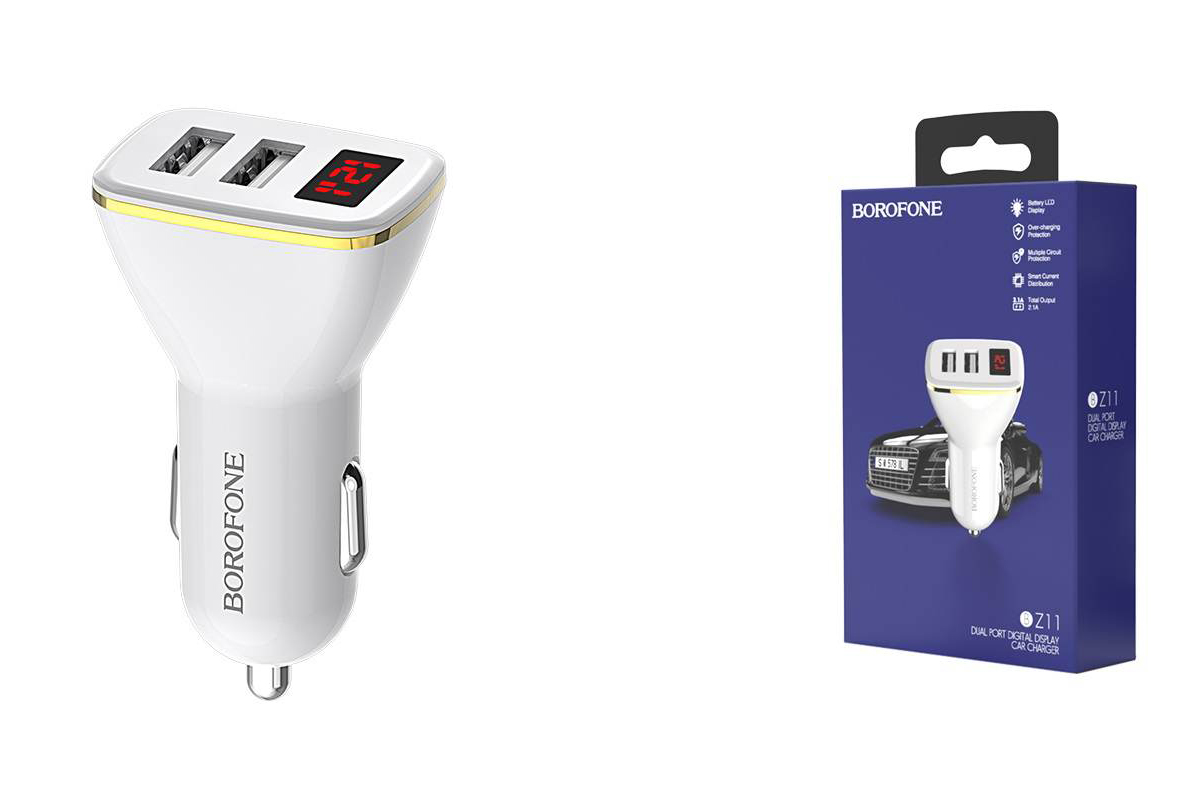 Автомобильное зарядное устройство 2USB BOROFONE BZ11 Speed map dual-port display car charger 2400 mAh белый